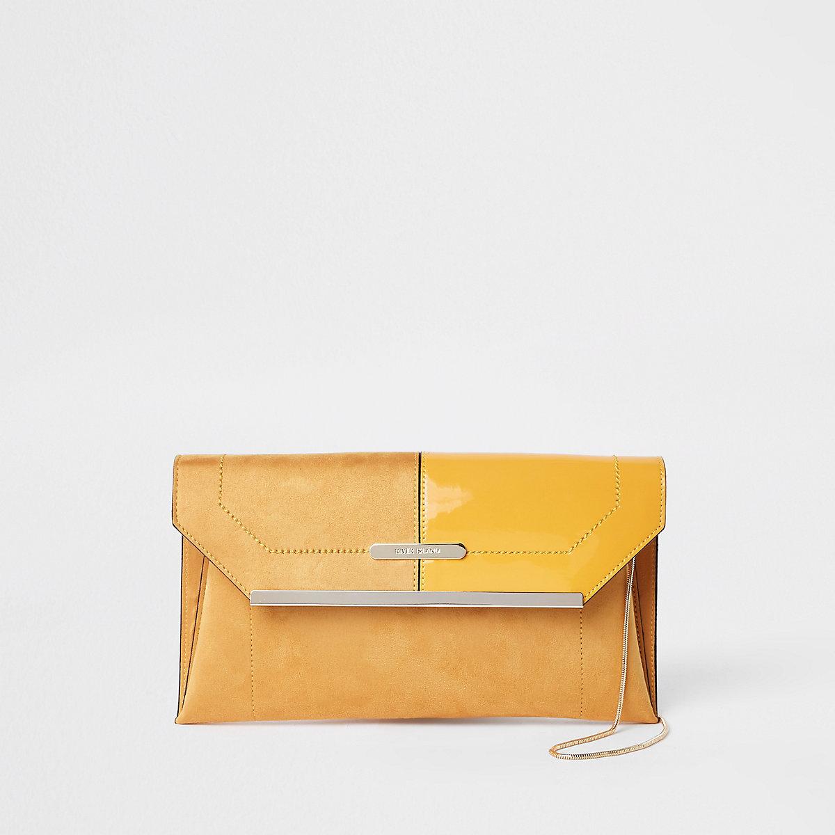 Yellow envelope clutch bag