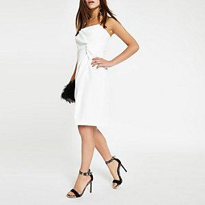 Petite – Robe moulante blanche nouée sur le devant