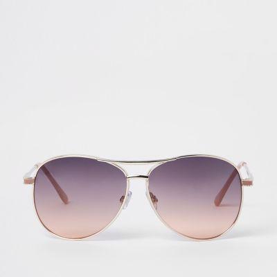 Gold Tone Smoke Lens Aviator Sunglasses by River Island