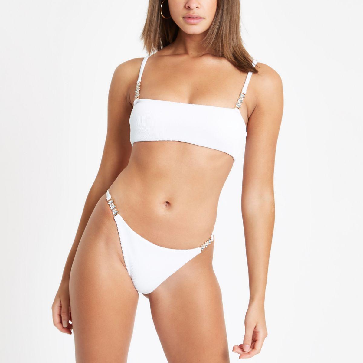 White ribbed embellished bikini bottoms