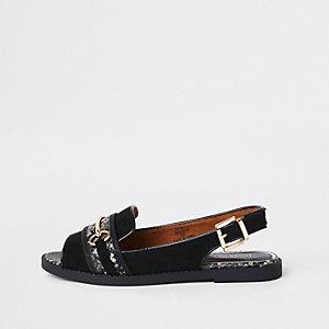 Zwarte peeptoe sandalen met brede pasvorm en slangenprint