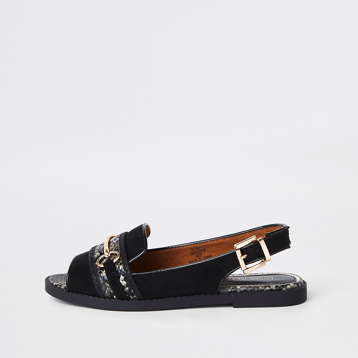 Black snake peep toe wide fit snaffle sandals