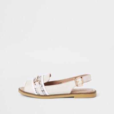 White Wide Fit Snake Print Slingback Loafers by River Island