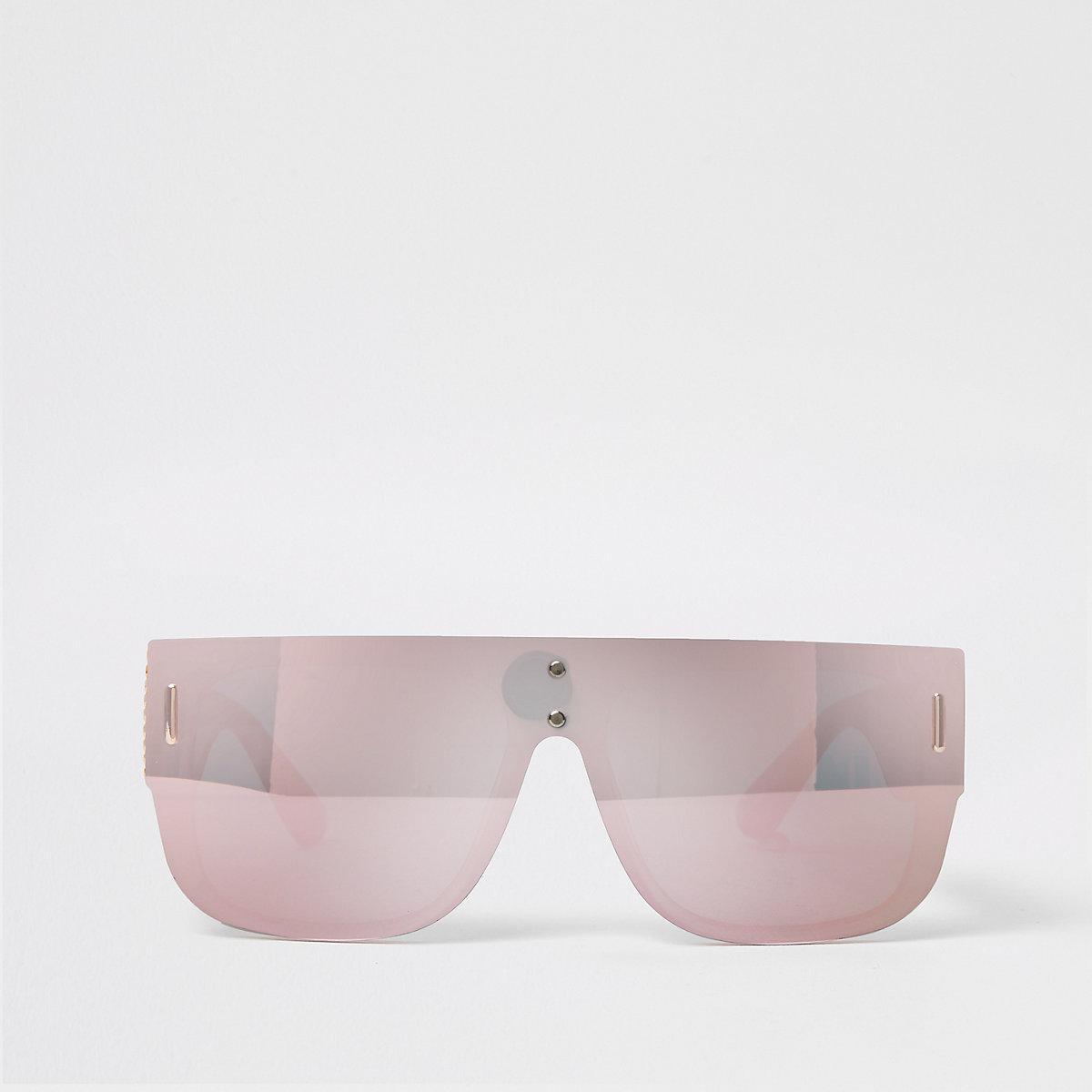 Silver mirror lens visor sunglasses