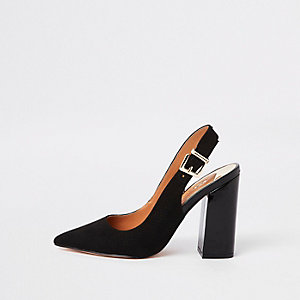 Black faux suede sling back court shoes