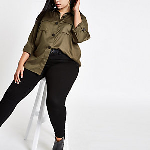 Plus khaki button front shacket