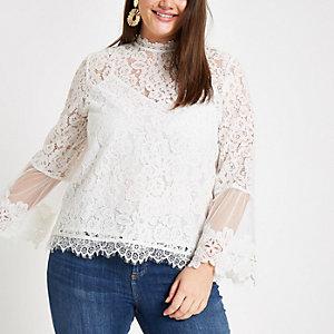 Plus – Weiße, langärmlige Bluse