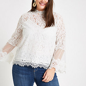 Plus white lace long sleeve blouse