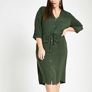 Plus khaki belted button shirt dress
