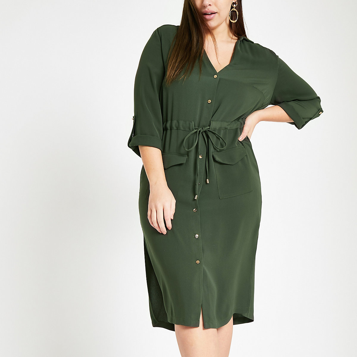 Plus khaki belted button shirt dress
