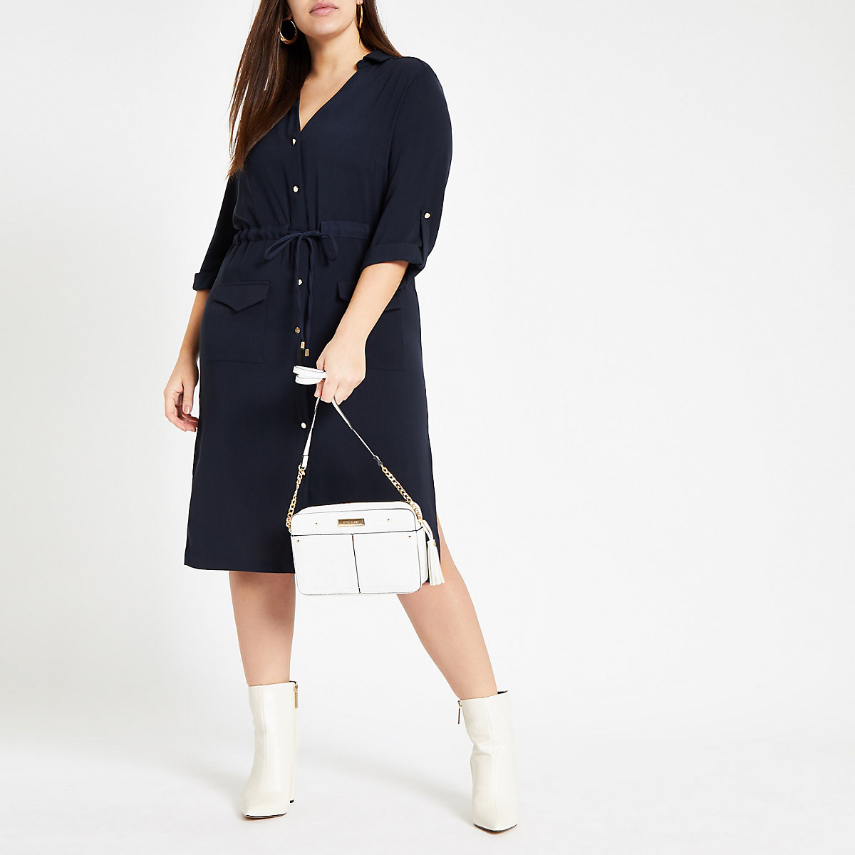 Plus navy belted button shirt dress