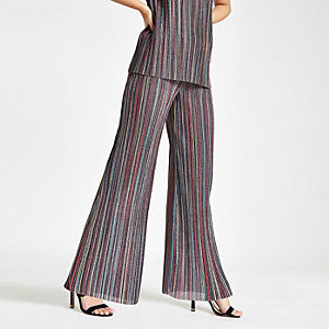 Pink stripe plisse wide leg pants