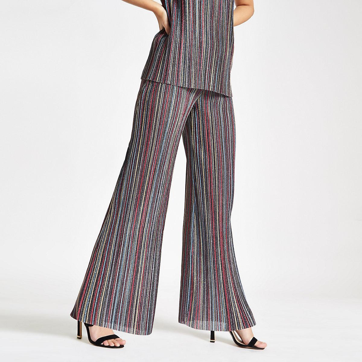Pink stripe plisse wide leg trousers