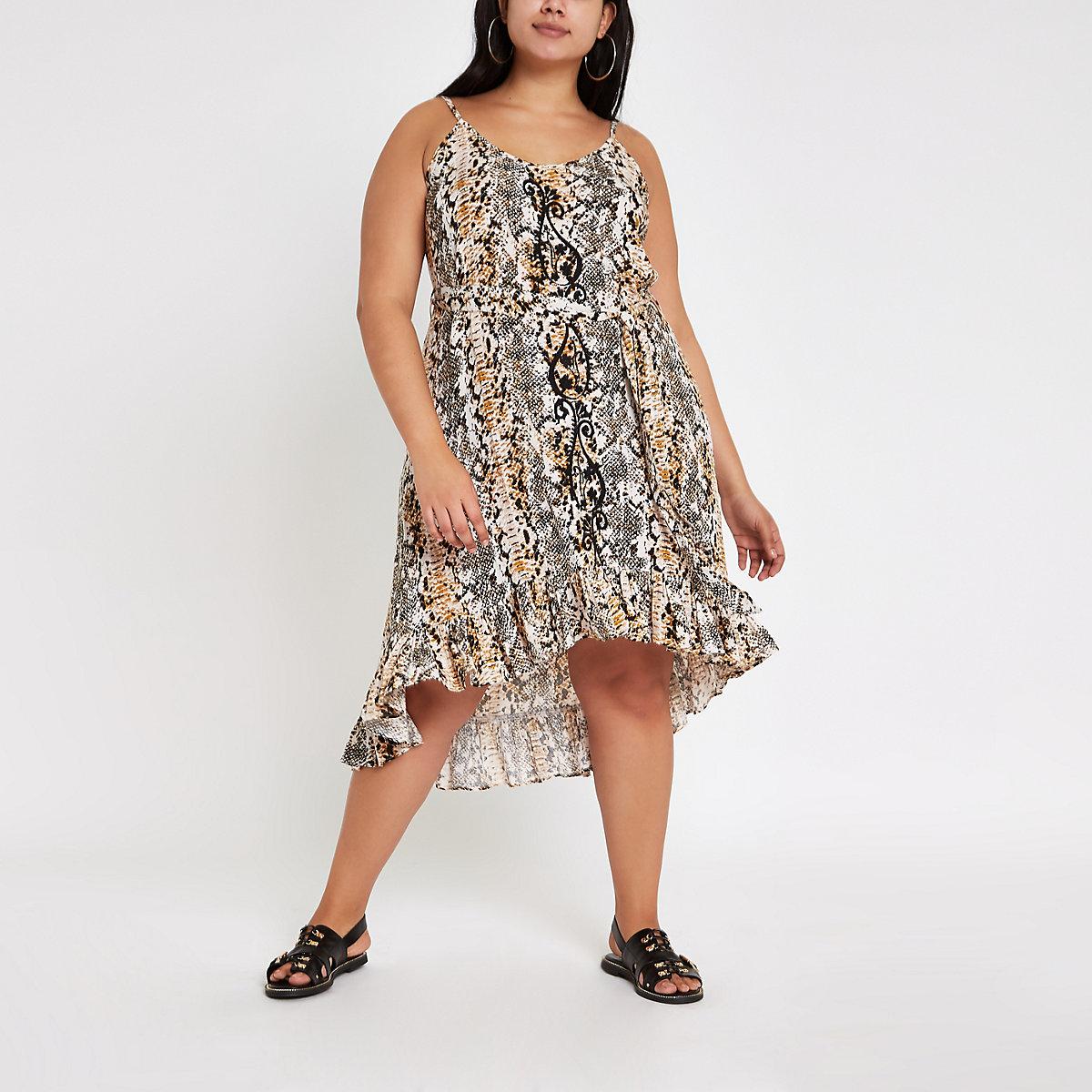 Plus black snake print cover up beach dress