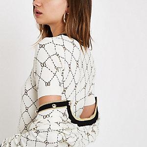 Crème T-shirt met geometrische hartprint