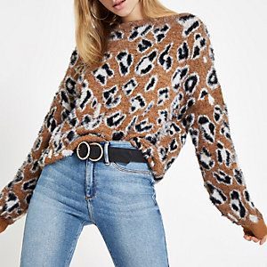 Brown leopard print slash neck sweater