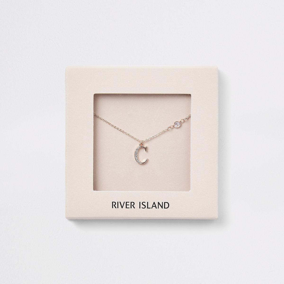 Rose gold colour 'C' initial necklace