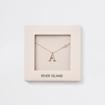 Rose Gold Tone 'A' Initial Necklace by River Island