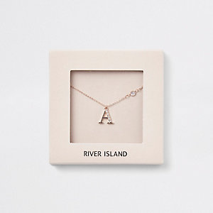 Rose gold colour 'A' initial necklace