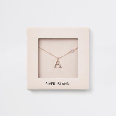 Roségoudkleurige Ketting Met A Letter by River Island