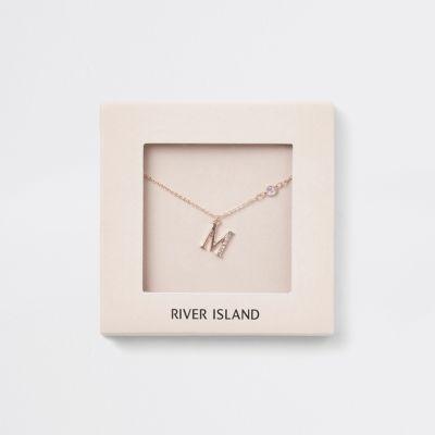 Roségoudkleurige Ketting Met M Letter by River Island