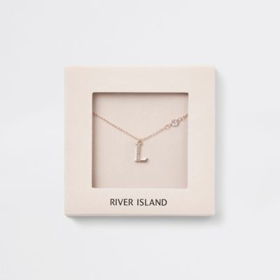 Rose Gold Tone 'L' Initial Necklace by River Island