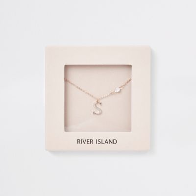 Rose Gold Tone 'S' Initial Necklace by River Island