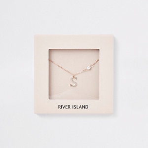 Rose gold tone 'S' initial necklace