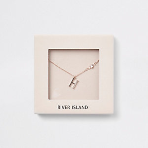 Rose gold tone 'H' initial necklace