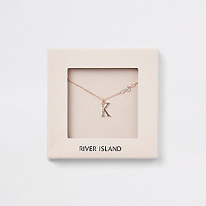 Rose gold tone 'K' initial necklace