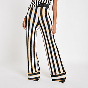 Black metallic stripe knit wide leg trousers