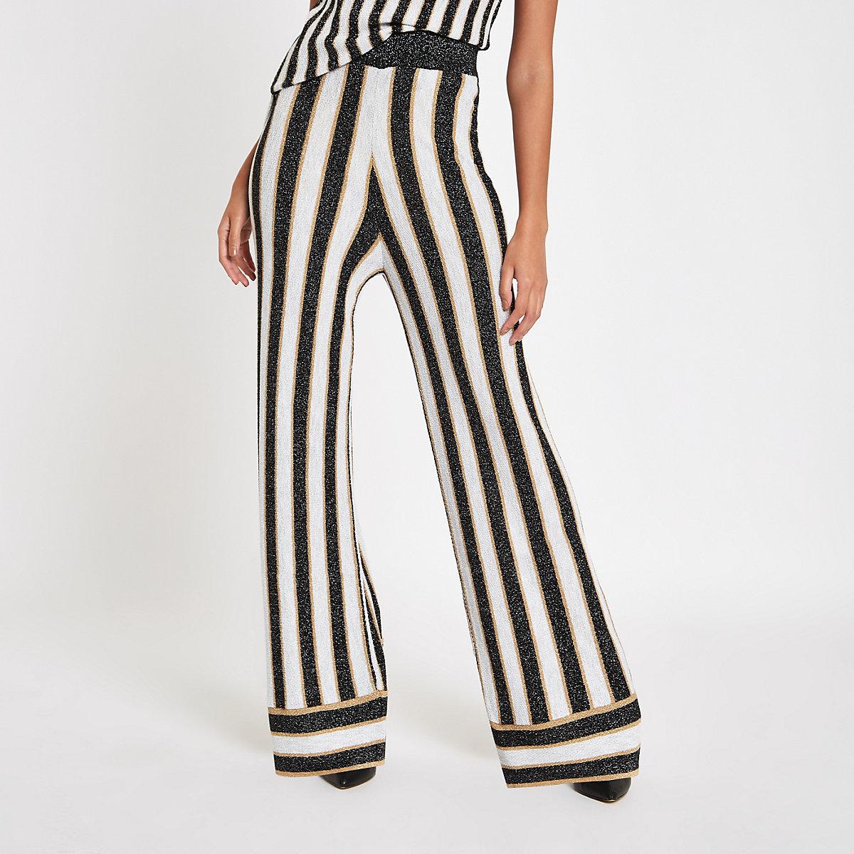 Black metallic stripe knit wide leg pants