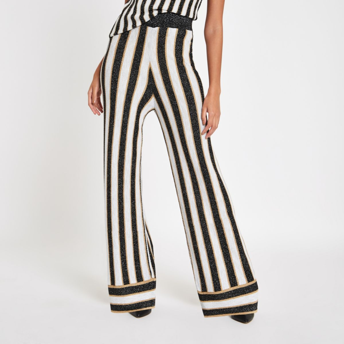 Black metallic stripe knit wide leg trousers