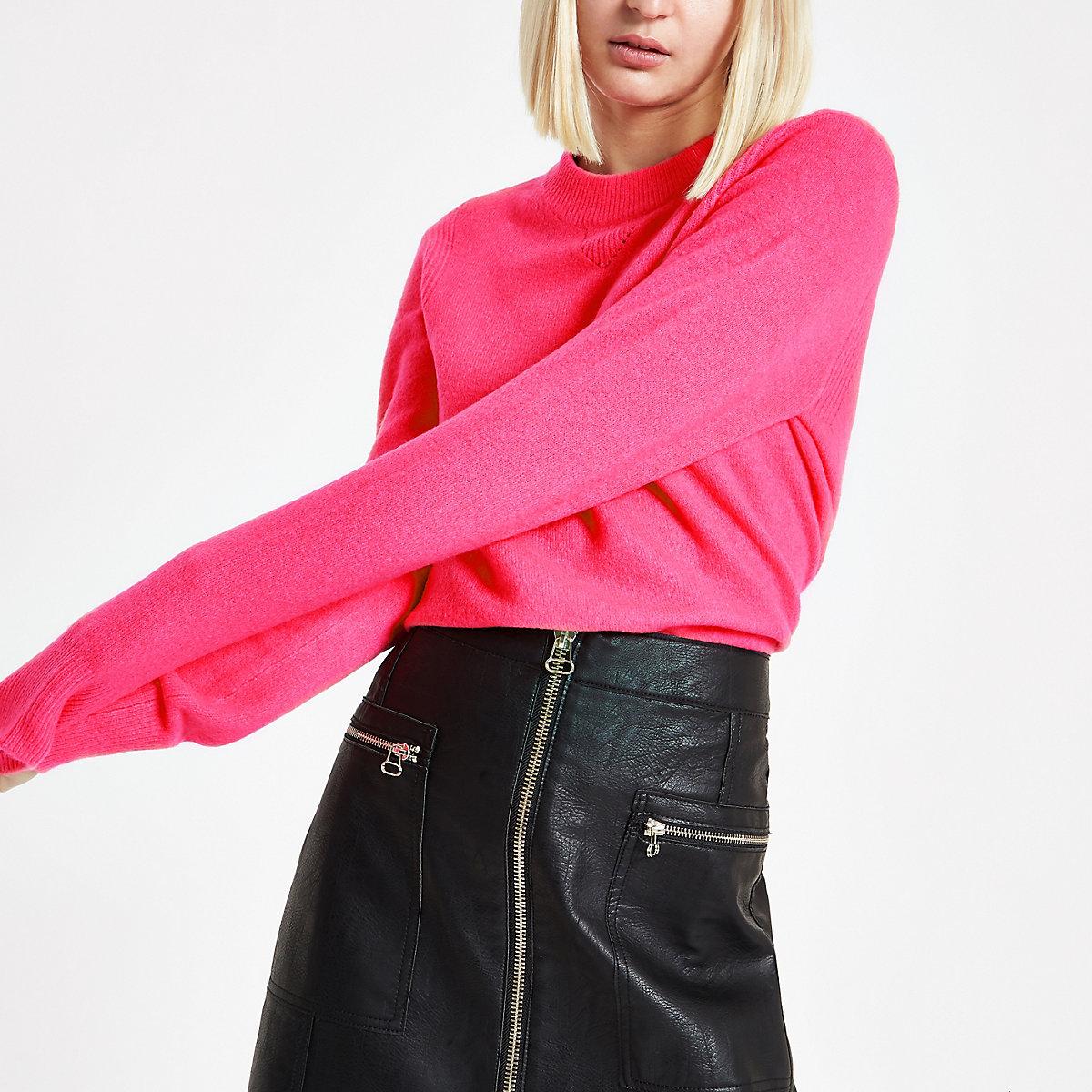 Bright pink crew neck sweater