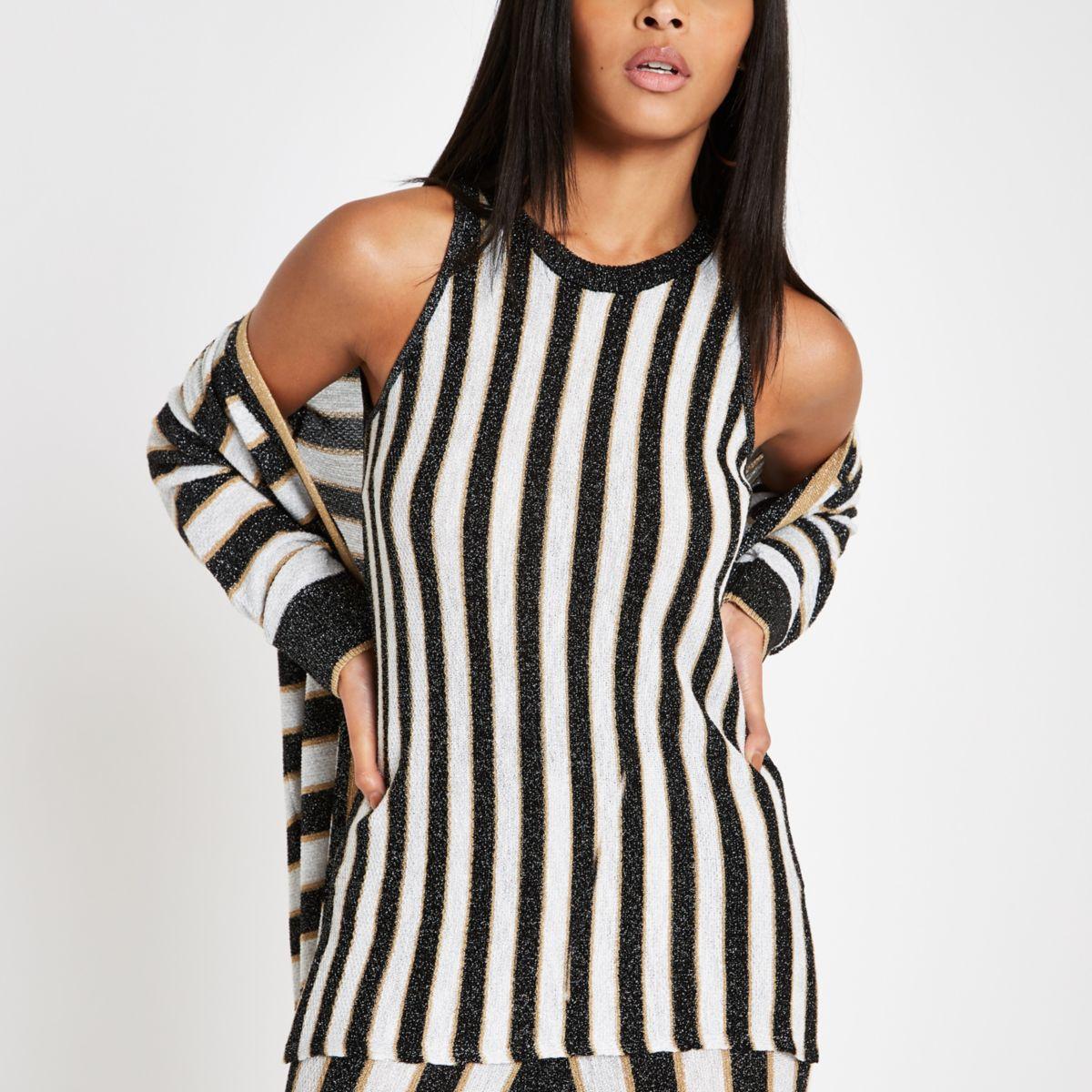 Black metallic stripe knit vest
