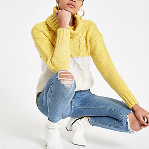 Yellow colour block knit roll neck jumper