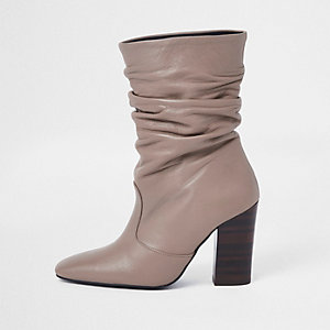 Light pink faux leather slouch boots