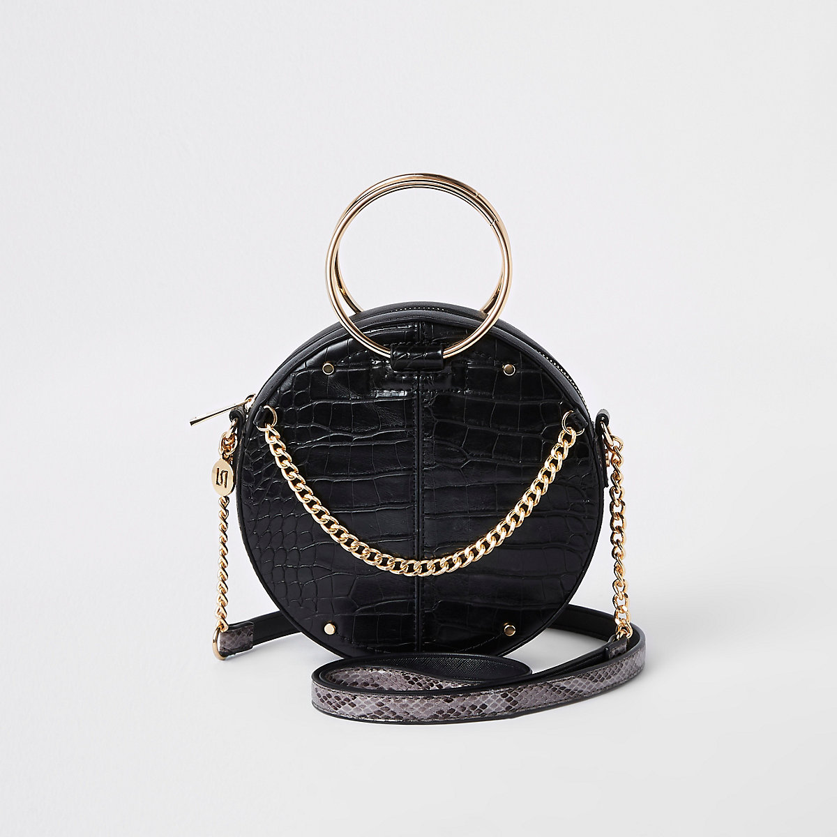 Black croc ring handle circle cross body bag