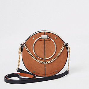 824c55471dff Beige ring handle circle cross body bag