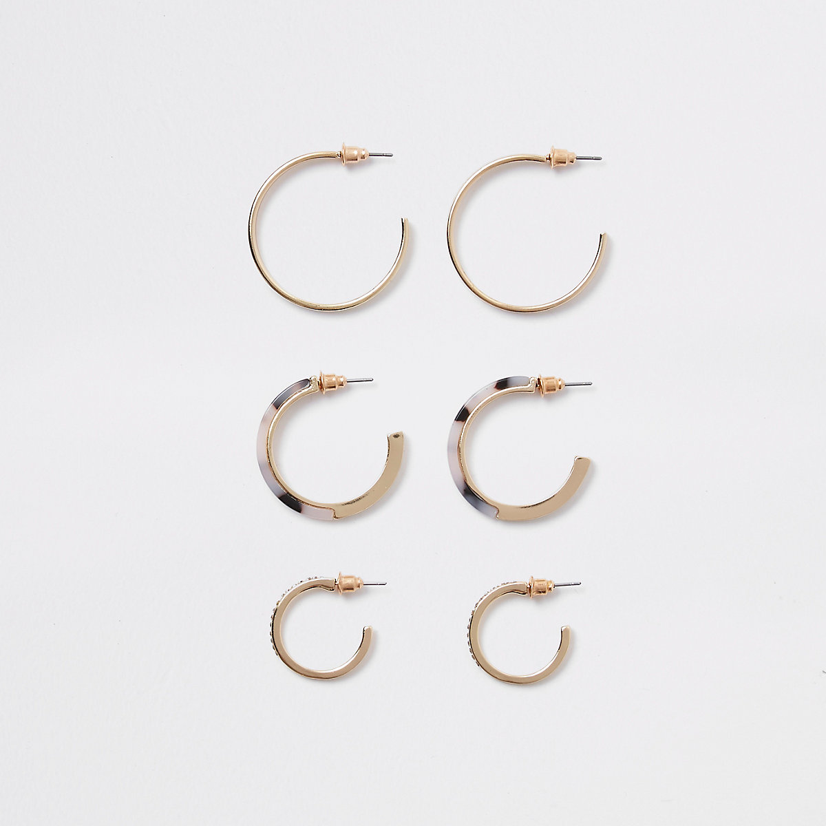 Gold colour tortoise diamante earring pack