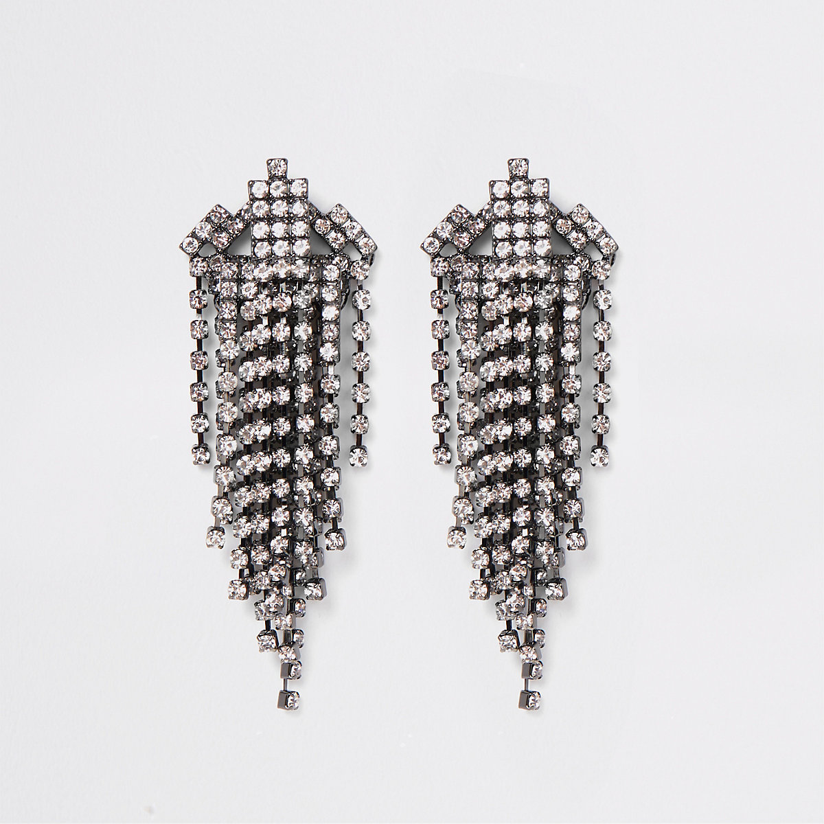 Grey diamante drop earrings