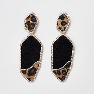 Gold tone leopard rhinestone pave drop earrings