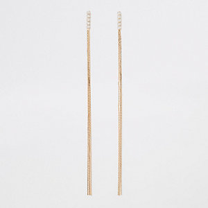 Gold tone slinky link chain drop earrings