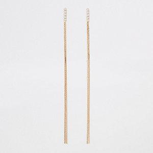 Pendants d'oreilles chaînes dorés