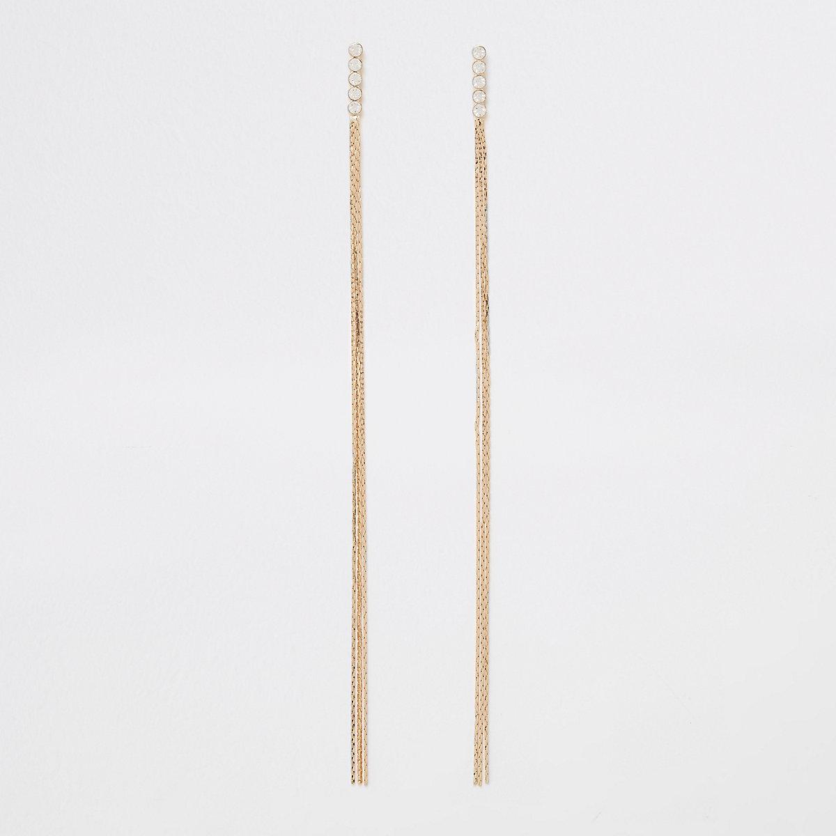 Gold tone slinky link chain drop earrings