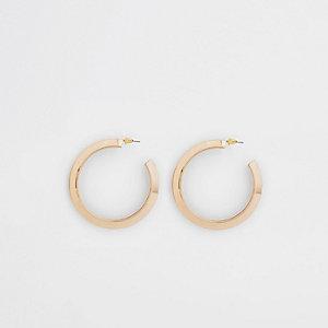 Gold colour chunky hoop stud earrings
