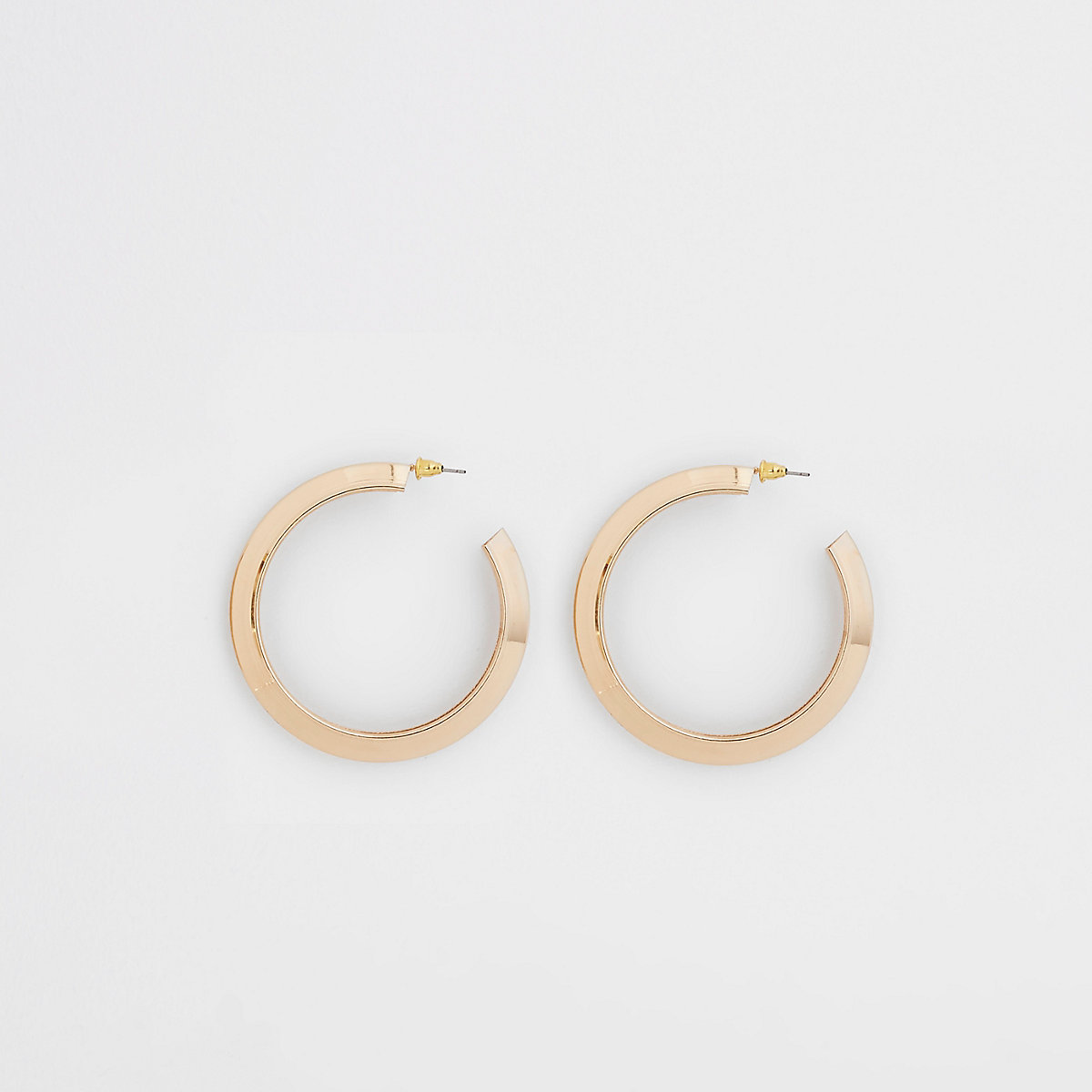 Gold tone chunky hoop stud earrings