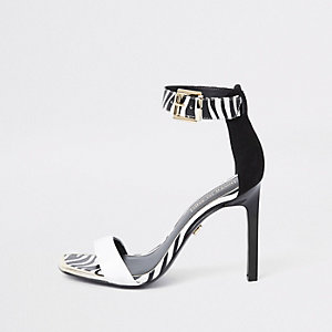 Black barely there monochrome sandals