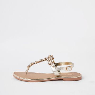 Gold Embellished Leather Sandal by River Island