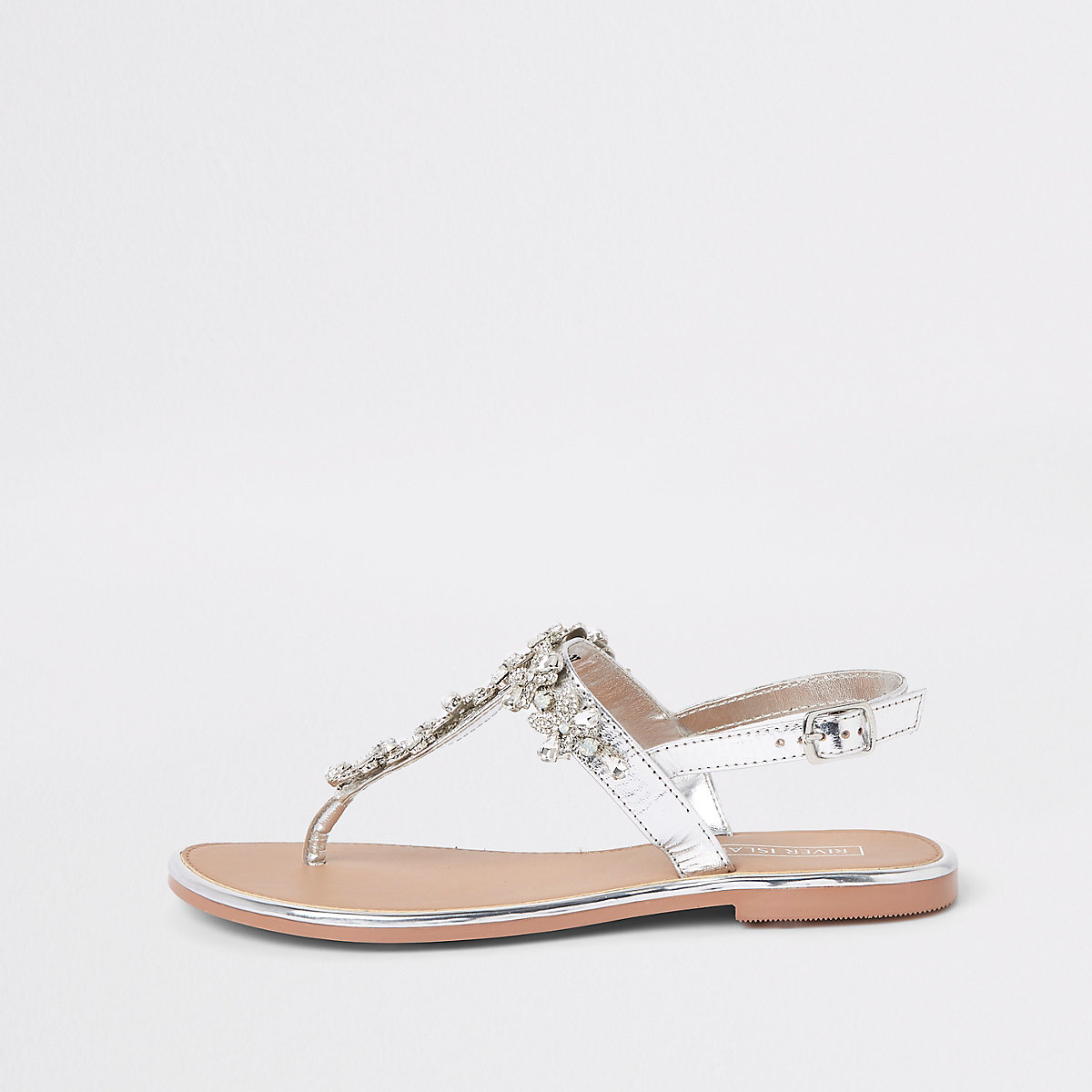 Silver leather jewel embellished flat sandals